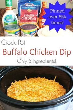 With only 5 ingredients - this Crock Pot Buffalo Chicken Dip recipe is easy and always a hit!