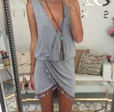 2016 Summer Style Women Tassel Dress Fashion Deep V-neck Sexy Beach Dresses Solid Smock Waist Front Wrap Boho Dress vestido