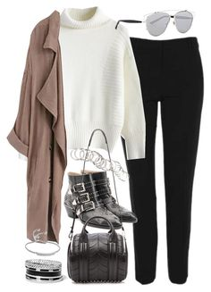 """""""Outfit for work in winter"""" by ferned on Polyvore featuring Topshop, Chicwish, WithChic, Chloé, Christian Dior, Alexander Wang, H&M, GUESS and Monica Vinader"""