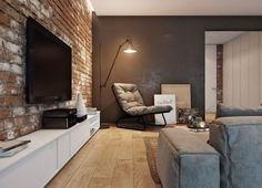 48 Ispiring Rustic Elegant Exposed Brick Wall Ideas Living Room is part of Living Room Interior Exposed Brick - If your guest room includes a brick wall as one of its architectural features, there are ways of beautifully accessorizing […] Living Room Modern, Living Room Interior, Home And Living, Living Room Designs, Living Room Decor, Bedroom Modern, Kitchen Living, Brick Interior, Loft Interior Design