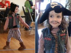 DIY pirate costume…I like this b/c most of it looks like it's from the child's closet. Harem Pants Pattern, Kids Harem Pants, Renaissance Pirate, Girl Pirates, Diy Costumes, Costume Ideas, Pirate Hats, Inspiration For Kids, Boy Outfits