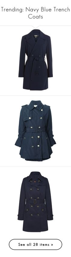 """""""Trending: Navy Blue Trench Coats"""" by mscody ❤ liked on Polyvore featuring outerwear, coats, jackets, blue, fitted coat, lapel coat, belted trench coat, double breasted belted coat, double-breasted trench coats and blue double breasted coat"""