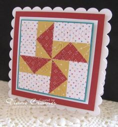 handmade quilt card ... pinwheel quilt block  ... like the matting with scalloped edges ...