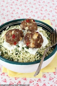 Greek Meatballs with Spinach Couscous