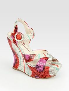 Alice + Olivia - Multicolored Snake-Print Leather Wedge Sandals