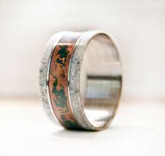 Elk Antler - Patina Copper - Wedding Ring - Handmade