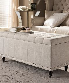 Baxton Studio Kaylee Modern Classic Beige Fabric Upholstered Button-Tufting Storage Ottoman BenchWhether paired with upholstered bed as a bed end bench or simply on its own, this modern classic button-upholstered storage ottoman offers classic and smart i Blanket Storage, Tufted Storage Ottoman, Upholstered Bench, End Of Bed Bench, End Of Bed Ottoman, Bedroom Ottoman, Bench Seat, Yellow Bedding, Baxton Studio