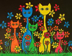 Cats In Daisies By Joyce M Jacobs