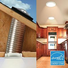 My father installed one of these in their interior bathroom many years ago. During the day you never have to turn the bathroom light on. Small Space Design, Small Spaces, Kitchen Lighting, Bathroom Lighting, Flexible Tubing, Split Level Remodel, Hall Bathroom, Skylights, Homestead Survival