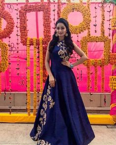 Laadesar Tridha Choudhury In Kalki Navy Blue Gown Adorn In Zari And Sequin In Floral Call or Whatsapp on or visit insta page WOMN CLOTHING. we are designer studio specialized in custom designer dresses. No CASH ON DELIVERY, worldwide delivery. Indian Wedding Gowns, Indian Gowns Dresses, Indian Fashion Dresses, Indian Designer Outfits, Designer Gowns, Indian Outfits, Long Gown Dress, Party Wear Dresses, Stylish Dresses