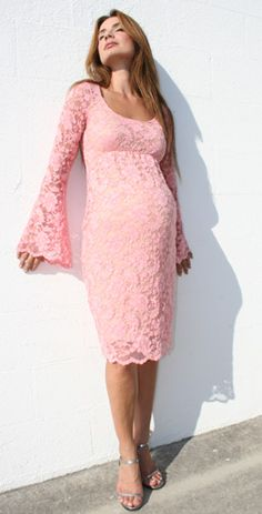 Pink lace maternity dress-so pretty and perfect for a baby shower Maternity Bridesmaid Dresses, Maternity Dresses For Baby Shower, Maternity Gowns, Maternity Fashion, Baby Dress, Wedding Dresses, Maternity Style, Mother Maternity, Pregnant Bridesmaid