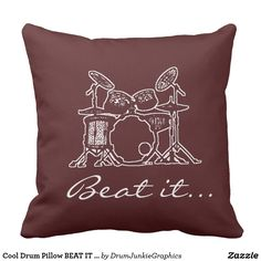 Cool Drum Pillow BEAT IT  Drummer Cushion Musician