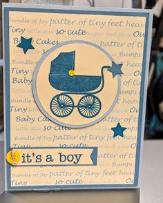 Penny Laine Papers Fabric Frame oh boy Blue Carriage
