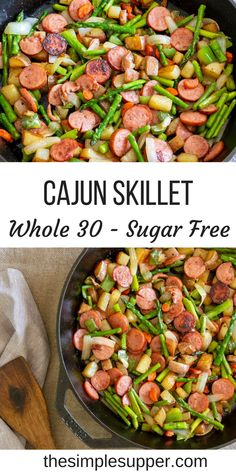 This Spicy Cajun Asparagus and Sausage Skillet is the dinner your family needs! Packed with seasonal veggies and even more flavor this meal is healthy, fresh and perfect for a busy weeknight meal. Bright, crisp asparagus and tender red… Read more › Healthy Dinner Recipes For Weight Loss, Clean Eating Recipes For Dinner, Healthy Diet Recipes, Healthy Meal Prep, Clean Eating Snacks, Whole Food Recipes, Whole30 Recipes, Meal Recipes, Healthy Snacks
