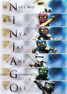 • #LEGO #NINJAGO  [ Wu, Kai, Nya, Jay, Zane, Lloyd, Cole ] — N.I.N.J.A.G.O. Edit made by me  Hope u like it :)