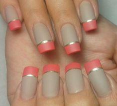 French tips in orange! Glam Nails, Bling Nails, Nude Nails, Colorful Nail Designs, Beautiful Nail Designs, Cute Pink Nails, Pretty Nails, Coral Nails With Design, Hair And Nails