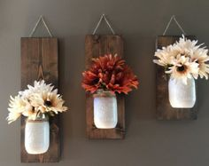 Set of 2 or 3 Mason Jar/flower wall sconce - This wall sconce is a great addition to your home decor with beautiful fall colors!! These sets are perfect for any wall in your home, sure to add color to your office, kitchen or living room. Set shown is an antique white jar. ♥ Bonus?! Each set can be used time and time again throughout the seasons! Switch out the flowers and youre ready for Christmas, Spring and the 4th of July! ♥ Flower option shown above is a set of purple hydrangeas. Hy...
