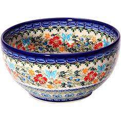 Polish Pottery Ceramika Boleslawiec, 0410/238, Bowl 19, 5 1/4 Cups, Royal Blue Patterns with Red Cornflower and Blue Butterflies Motif
