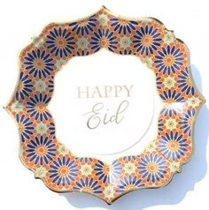 Pack of 8 paper plates. Eid Balloons, Letter Balloons, Marrakech, Muslim Celebrations, Eid Party, Eid Mubarak Greetings, Blue Dinner Plates, Embroidery On Clothes, Ramadan Decorations