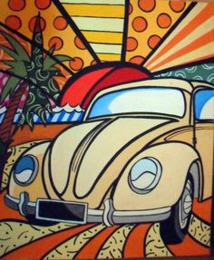 10 Susie Cipolla Where To Now Ideas Plant Painting, Car Painting, Love Painting, Ceramic Painting, Painting For Kids, Vw Vintage, Vintage Comics, Beetle Drawing, Mushroom Art