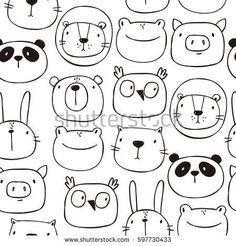 Cute print with cat, lion, bear, pig, frog, panda, hare, owl. Hand drawn print. Seamless Pattern