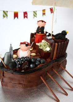 I dare you to bake a cake like this pirate ship birthday cake.