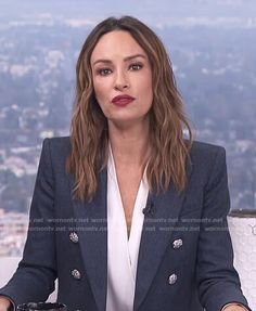 Catt's blue double breasted blazer and black skinny pants on E! News Daily Pop