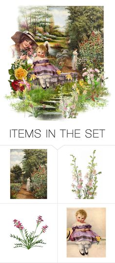 """Victorian Garden by the Pond"" by pinkprairiestorm ❤ liked on Polyvore featuring art"