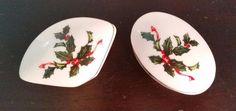 Vintage Lefton China Trinket Box lot of 2 Holly Porcelain Christmas JAPAN #Lefton #ArtDeco