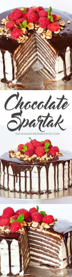 Chocolate 'Spartak' cake is one of the most popular cakes in Russia and Eastern Europe. It's made with 8 chocolate cake layers and frosted with a creamy whipped cream frosting. View Recipe Link