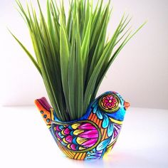 psychedelic bird pot
