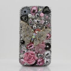 3D Swarovski Silver Butterfly Crystal Bling Case Cover for iphone 4 4S AT&T Verizon & Sprint