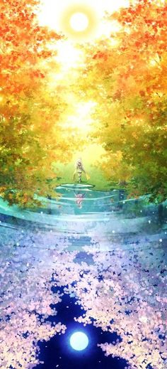 This is a very cute anime scenery wallpaper. It shows a lovely reflection of the forest. In the water it is night. Above, it is morning.