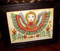 Fraktur Painting Folk Art Angel by GoldenAppleCreations on Etsy, $30.00