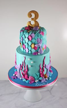 Mermaid Cakes and Party Ideas - if you need inspiration or want to find the . Mermaid Cakes and Party Ideas – if you need inspiration or want to find the perfect cake for Mermaid Birthday Cakes, Birthday Cake Girls, 5th Birthday, Pretty Birthday Cakes, Bithday Cake, Birthday Ideas, Sirenita Cake, Sea Cakes, Baby Cakes