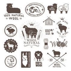 Wool labels and stickers. Logo set of sheep, alpaca, rabbit and goat wool. Signs and emblems for 100% natural wool products.