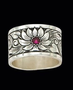 Montana Silversmiths Bitterroot Flower Stearling Silver Band Ring Rings Jewelry