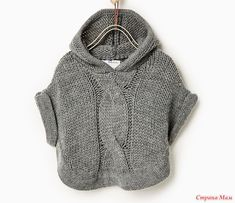 Моя постоянная и самая любимая заказчица попросила связать для ее полуторагодовалой малышки вот такое пальто-пончо. Пожалуйста, помогите с выкройкой и расчетами, ну и вообще хоть чем.