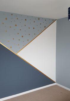 Progress in kindergarten, # progress - Baby Room DIY - Babyzimmer Baby Bedroom, Baby Boy Rooms, Baby Room Decor, Nursery Room, Bedroom Wall, Bedroom Decor, Star Bedroom, Room Wall Painting, Room Paint