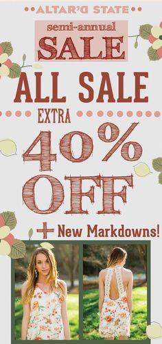 Altar'd State: 601.707.5283 Stop by for our Semi Annual Sale going on all weekend long.  Renaissance at Colony Park 1000 Highland Colony Parkway Ridgeland, MS 39157