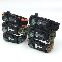 Men's Survival Bracelet Rescue Paracord Parachute Cord Wristbands Emergency Rope Kits