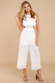 af93b758c40 Chic White Lace Jumpsuit - Airy Sleeveless Jumpsuit - Playsuit -  56 – Red  Dress Boutique