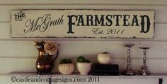 A wonderful custom family Farm sign...your name and established year.. Shabby ~ worn and chippy cottage white background ~ handpainted lettering in charcoal ~ faded for a time worn look.... Measures 48 inches long by 10 inches high. Sealed with wax, artist signed and dated... your sign will arrive ready to hang!   Be sure to add your personalization info in the note to seller area of checkout: Family Name Wether youd like it to have the word Family after it or not and the Est. date/year…