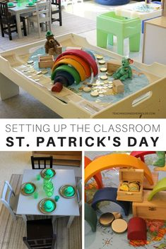 Setting up the toddler and preschool classroom for the St. Patrick's Day theme - lots of shamrocks, rainbows, and color mixing taking place with art, science, dramatic play, blocks, fine motor, sensory, easel, light table, and more! A great resource for early childhood teachers! #stpatricksday #stpatricksdaytheme #stpatricksdayactivities #preschool #toddlers #classroom #rainbow #preschoolactivities #toddleractivities #AGE2 #AGE3 #teaching2and3yearolds Toddler Teacher, Toddler Classroom, Kindergarten Classroom, Kindergarten Activities, Toddler Preschool, Preschool Activities, Preschool Colors, Preschool Themes, Daycare Themes