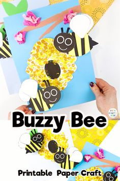 Bobble Bee Paper Craft - A super fun and easy Spring craft for kids! Bees For Kids, Bee Crafts For Kids, Bug Crafts, Spring Crafts For Kids, Diy Arts And Crafts, Creative Crafts, Preschool Crafts, Art For Kids, Bee Activities