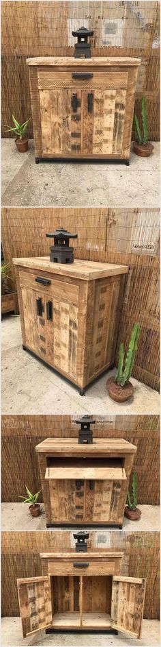 You should try and place this awesome pallet wood project at your outdoor area. If you love recycling then you should use old wooden pallets to make this table which contains two cabinets and a section. You can put anything on this table although we have placed small plants beside it.