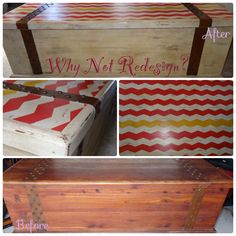 Antique white with Strawberry and Haystack from Old Town Paints dark wax and voila!  From drab to fab old trunk!  Why Nit Redesign? Www.facebook.com/WhyNotRedesign
