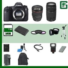 Green's Camera Canon EOS 6D Digital SLR Camera Kit with 24-105mm IS USM Lens, EF 75-300mm III Lens and Accessories (18-Items). -Package Includes 21 Products - All with USA Warranty and Manufacture Supplied Accessories. -20.2 Megapixel Full-Frame CMOS sensor, 14-bit A/D conversion, a wide range ISO setting 100-25600 (L: 50, H1: 51200, H2: 102400) for shooting from bright to dim light, and the next generation DIGIC 5+ Image Processor for enhanced noise reduction and exceptional processing...