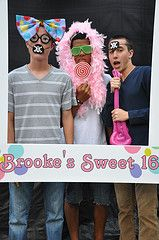 Sweet Sixteen photo booth border, can make very feminine with party colors cool props (not corny )