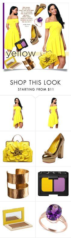 """In La La Land: Yellow Dresses"" by kari-c ❤ liked on Polyvore featuring Charlotte Olympia, ADIN & ROYALE, NARS Cosmetics, TheBalm, Effy Jewelry and yellowdress"